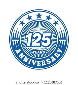 125 years anniversary. Anniversary logo design. Vector and illustration.