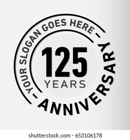125 years anniversary logo template. Vector and illustration.