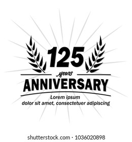125 years anniversary logo. Vector and illustration.