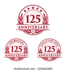 125 years anniversary set. 125th celebration logo collection. Vector and illustration.