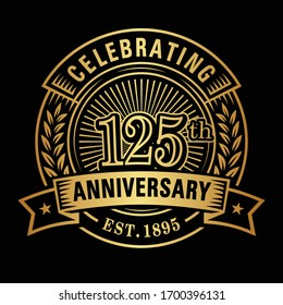 125 years of celebrations design template. 125th logo. Vector and illustrations.