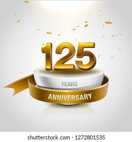 125 years golden anniversary logo celebration with confetti and ribbon - Vector