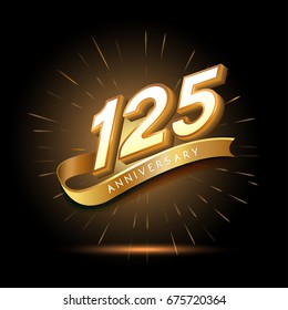 125 years golden anniversary logo celebration with firework and ribbon