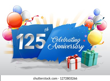 125th anniversary celebration with colorful confetti and balloon on blue background with shiny elements. design template for your birthday party. - Vector