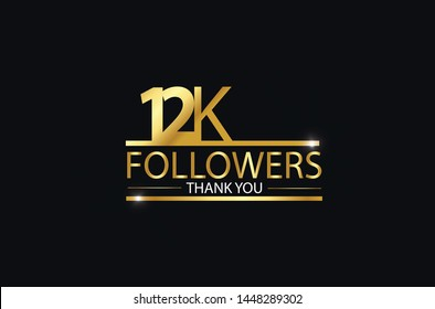 12K, 12.000 Followers celebration logotype. anniversary logo with golden and Spark light white color isolated on black background, vector design for celebration, Instagram, Twitter - Vector