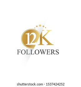 12K, 12.000 Followers celebration logotype. anniversary logo with golden and Spark light white color isolated on white background for social media - Vector