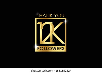 12K, 12.000 Followers celebration logotype with golden Square and Spark light white color isolated on black background for social media - Vector