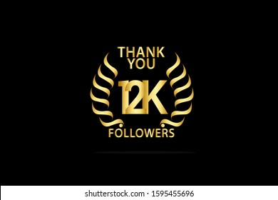 12k, 12.000 Followers celebration logotype. anniversary logo with golden and Spark light white color isolated on back background for social media - Vector