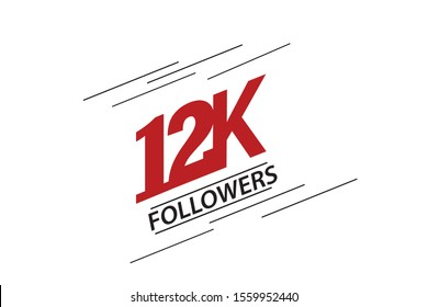 12K, 12.000 Followers Thank you red and black speed line logotype for social media, internet - vector
