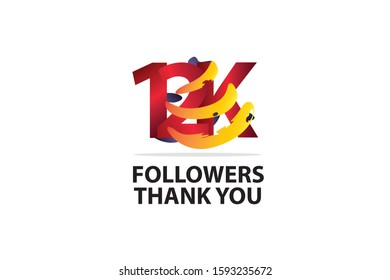 12K, 12.000 Followers Thank you logo  Sign Ribbon Gold space Red and Blue, Yellow number vector illustration for social media, internet - vector