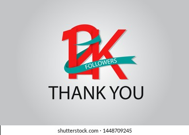12K, 12.000 Thank You Followers anniversary Red logo with Tosca ribbon. For Social Medias - Vector