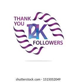 12K 12.000 Thank you Followers celebration logotype. anniversary logo with watercolor purple and blue  isolated on white background, vector design for celebration, influence post - vector