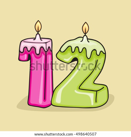 12nd Birthday Candle Number Vector Design Template Elements For Your Celebration