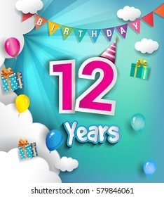 12th Anniversary Celebration Design, with clouds and balloons. using Paper Art Design Style, Vector template elements for your, twelve years birthday celebration party.