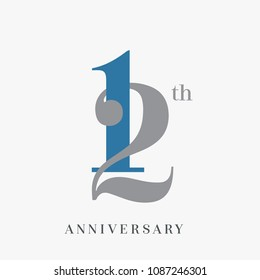 12th anniversary celebration overlapping number blue and grey simple logo, isolated on grey background