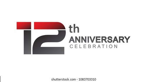 12th anniversary logo red and black design simple isolated on white background for anniversary celebration.