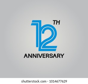 12th anniversary logotype with multiple line style blue color isolated on white background for celebration