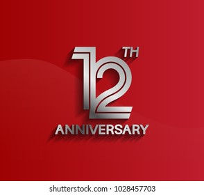 12th anniversary logotype silver color with multiple line style for celebration event
