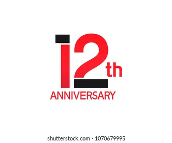 12th anniversary red and black design simple isolated on white background for celebration