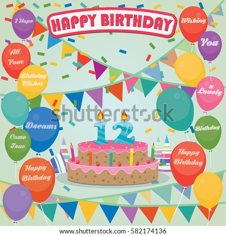 12th Birthday Cake And Decoration Background In Flat Design With Balloons Candles