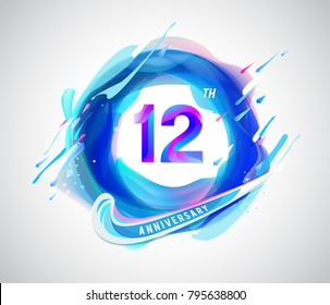 12th colorful anniversary logo. abstract liquid color elements celebration background design