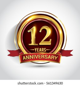 12th golden anniversary logo, twelve years birthday celebration with ring and red ribbon isolated on white background