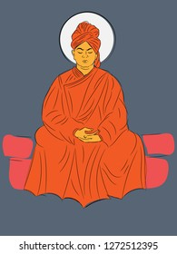 12th January Swami Vivekananda Jayanti illustration vector image