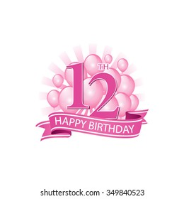 12th pink happy birthday logo with balloons and burst of light