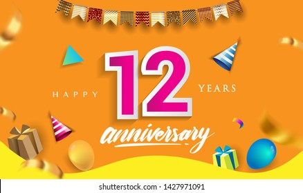 12th Years Anniversary Celebration Design, with gift box and balloons, ribbon, Colorful Vector template elements for your birthday celebrating party.