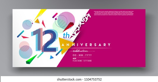 12th years anniversary logo, vector design birthday celebration with colorful geometric background and circles shape.