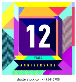 12th years greeting card anniversary with colorful number and frame. logo and icon with Memphis style cover and design template