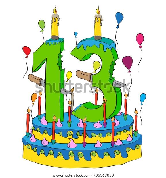 Tremendous 13 Birthday Cake Number Thirteen Candle Stock Vector Royalty Free Funny Birthday Cards Online Elaedamsfinfo