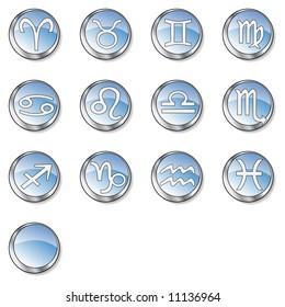 13 blue zodiac buttons: aries, taurus, gemini, cancer, leo, virgo, libra, scorpio, sagittarius, capricorn, aquarius, pisces, blank,   Find more in my portfolio.