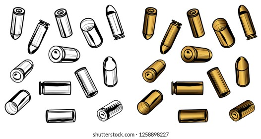 13 Bullets and Spent Casings with Transparency and Editable Color