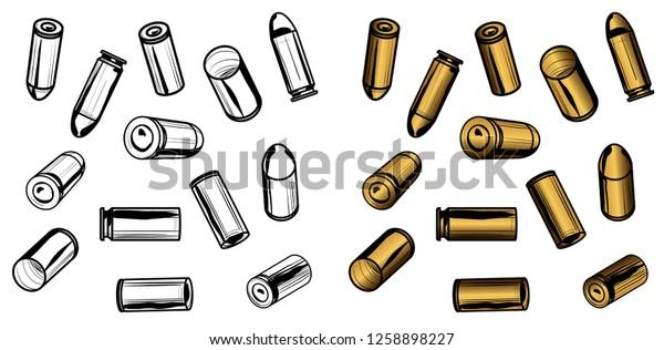 13 Bullets Spent Casings Transparency Editable Stock Vector ...