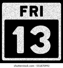 13 Friday Calendar Page grainy textured icon for overlay watermark stamps. Flat symbol with dirty texture. Dotted vector white ink rubber seal stamp with grunge design on a black background.