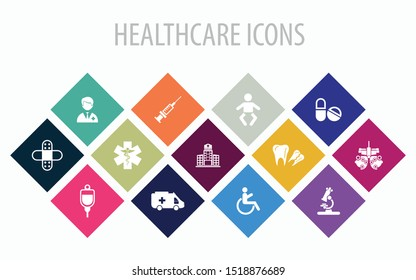 13 Healthcare Multicolored very useful Icon Sets for Design, Web & Mobile App.