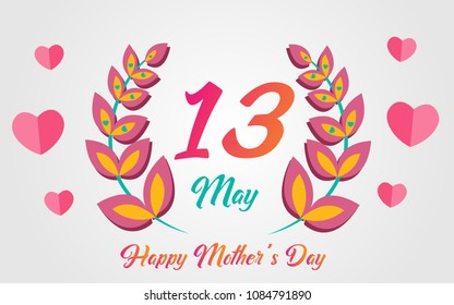 13 May 2018 Special Happy mother's day illustration lettering with flower, heart and colorful grey background