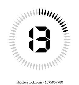 The 13 minutes or seconds, stopwatch vector icon, digital timer. clock and watch, timer.