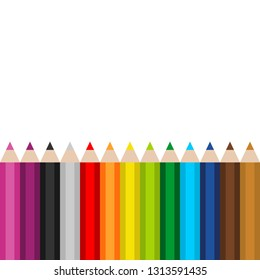 13 pencils colors with white background vector isolated