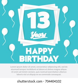 13 birthday images stock photos vectors 10 off shutterstock 13 rd birthday celebration greeting card paper art style design birthday invitation poster background with filmwisefo
