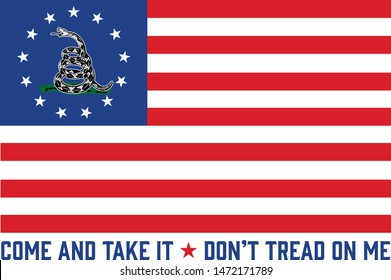 13 Star American Flag with Don't Tread on Me Symbol