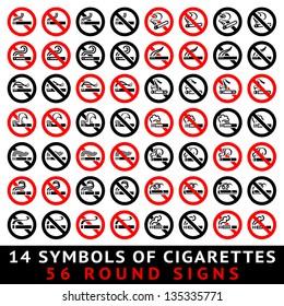13 symbols of cigarettes, 52 round signs, vector illustration