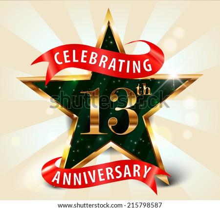 13 year anniversary celebration golden star stock vector