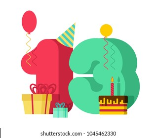 13 year greeting card Birthday. 13th anniversary celebration Template. thirteen number and festive piece of cake with candle. Balloon and Gift box.