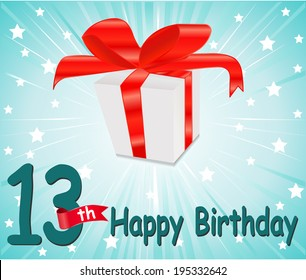 13 year Happy Birthday Card with gift and colorful background in vector EPS10