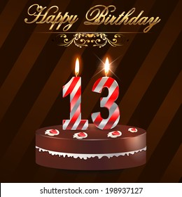 13 year Happy Birthday Card with cake and candles, 13th birthday - vector EPS10