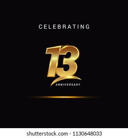 13 Years anniversary celebration golden logotype with swoosh isolated on black background, vector illustration design for greeting card, company event, invitation card, birthday