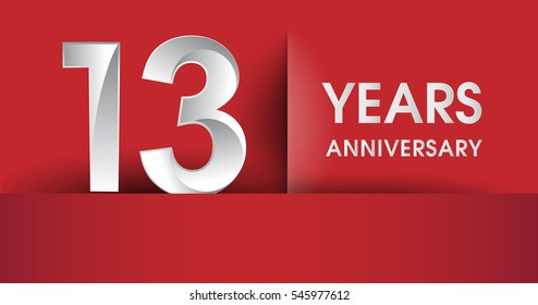 13 years Anniversary celebration logo, flat design isolated on red background, vector elements for banner, invitation card and birthday party.
