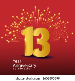 13 Years Anniversary Celebration Vector Template Design Illustration